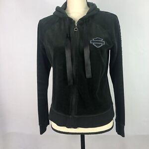 Harley Davidson Womens Hoodie Full Zip Sweatshirt Sz Medium Black Velour