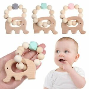 Nursing Toys Shower Gifts Wooden Teether Baby Teething Bracelets Silicone Beads