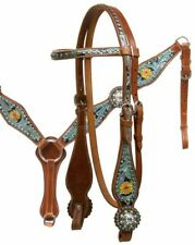 Western Saddle Horse Bling! Leather Tack Set Headstall Bridle w/Breast Collar