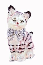 Bejeweled Cat Trinket Box by Ciel Collectables. Hand Made with Enamel & Crystals