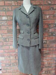 Original Vintage 1950s Striped Woollen Suit Skirt and Jacket