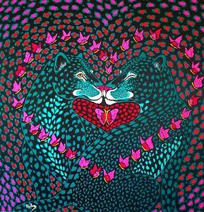 Quadro Bacio da Amore Acrilico su tela Dipinto a Mano in Spagna e Firmato