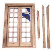 1/12 Dollhouse Mini Wooden DIY 28 Lattices Double Door Furniture Accessories  Gw