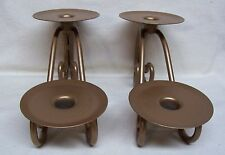 Home Interiors Set Of 2 Gold Table Top Candle Holders #12209 New In Original Box