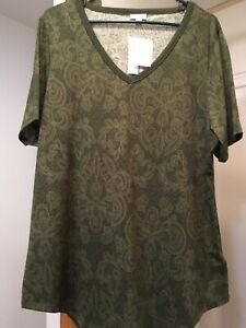 NWT-LuLaRoe Iris Size L Green Short Sleeve Top