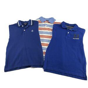 Lot Of 3 Brooks Brothers & Tommy Hilfiger Boys Kids S Polo Shirts Blue Striped