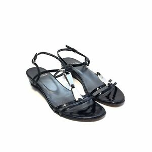 Stuart Weitzman Black Patent Sandals w/ Silver Beads Size 6.5 M