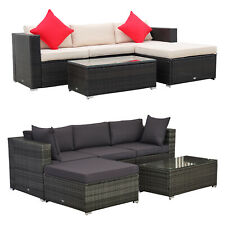 Outsunny 5-Piece Outdoor Patio Rattan Furniture Set w/ Ottoman Sofa Table