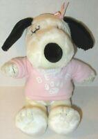 Peanuts Snoopy's Sister Belle Plush Puppy Dog Pink Shirt Stuffed Cedar Fair Toy