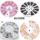 CARROUSSEL 3D STRASS PERLE ONGLE NAIL ART ARGENT DORE MULTICOLORE NEUF ONG024