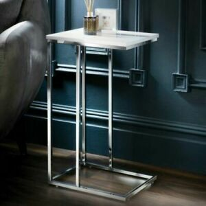 New White High Gloss Sofa Side Table/Shaped Coffee End Table Living Room