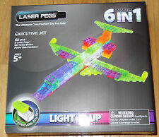 Executive Jet Laser Pegs 6 in 1 Light up Construction Block Works with any Brick