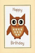 "Happy Birthday - Brown Cartoon Owl, Cross Stitch A6 Card Kit 4"" x 6"" 14 Count"