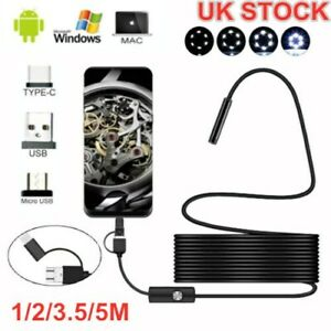 HD USB Type-c Endoscope Borescope Snake Inspect Camera 3 in 1 for Phone Android