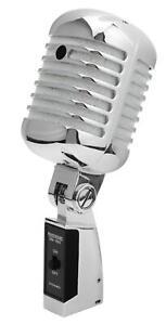 Microphone Dynamique Vintage Micro Elvis Rockabilly Enregistrement Studio Argent