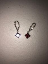 Avon Fashion earrings sterling silver dangle drop simulated red garnet January