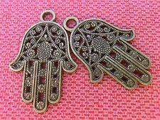 2 große Anhänger Charms Fatimas Hand Farbe bronze #S416