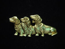 """Jj"" Jonette Jewelry Antique Gold Pewter 'Three Dachshunds' Dog Pin"