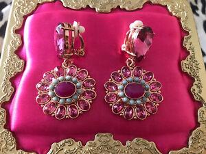 Betsey Johnson Boathouse Fuchsia Pink Turquoise Blue Flower Clip Earrings RARE
