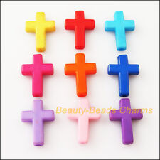 15Pcs Mixed Acrylic Cross Spacer Beads Charms 17.5x24mm