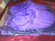 WOMAN'S CABLE KNIT SLIPPERS INSIDE/OUTSIDE PURPLE OR TURQUOISE SIZE 7/10 XL