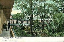 Udbk Mexico Postcard M350 Patio del hotel del Jardin Men Sitting Courtyard Trees