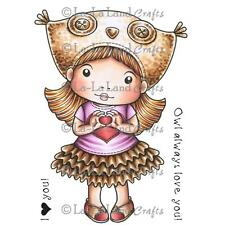 Girl Owl Hat Marci Set Cling Unmounted Rubber Stamp La La Land Crafts 5276 New