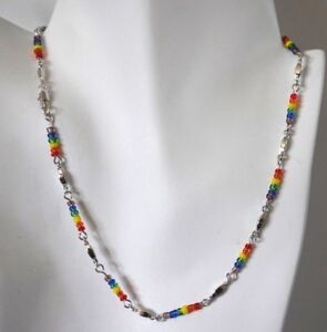 SILVER BY THE INCH RAINBOW BEADS CHAIN NECKLACE,BRACELET,14KT GOLD CLAD BONDED
