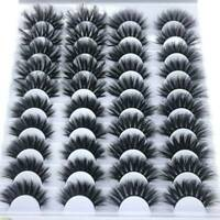 20 Pair 3D Natural Bushy False Eyelashes Cross Black Mink Hair Eye Lashes UK