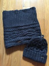 NWT MICHAEL KORS Cable Knit Winter Beanie Hat & Infinity Scarf Set Derby Gray