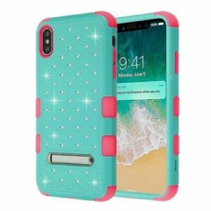 """For iPhone XR 6.1"""" - Teal Green Pink Hybrid Diamond Armor Case Cover Kickstand"""