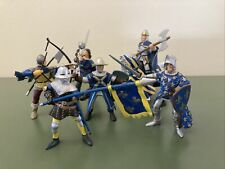 """Lot Of 7 PAPO Medieval 4"""" Stripped Horse With Medieval Figures Blue Gold 2000"""