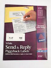 "Avery Send & Reply Piggyback Inkjet/Laser Printer Labels 1"" x 3"" 240/Pk 5735"