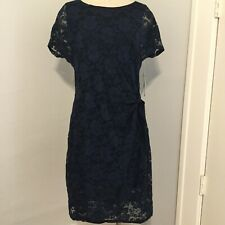 New Siganature By Robbie Bee Women Size L Petite Navy Lace Knot Waist Short Slee
