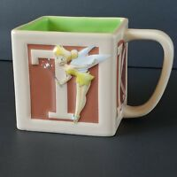 Disney Tink Coffee Mug Tinker Bell Square Block 25th Anniversary Embossed Cup