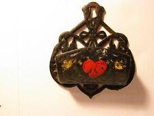 Vintage Ornate Metal Match Stick Toothpick Holder Wall Mount