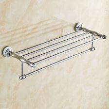Polished Chrome Wall Mounted Bathroom Towel Rack Rail Holder Storage Shelf