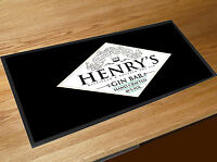 Personalised GIN Bar Runner MAT - Black Gin Label Home Bar mat - *ANY NAME*