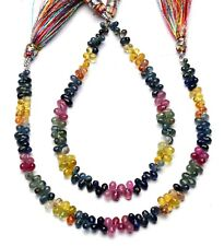 """Natural Gem Multi Sapphire 4x2 to 6x4MM Size Faceted Teardrop Briolette Beads 8"""""""