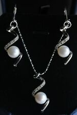 "Beautiful 8-9mm White Akoya Cultured Pearl Silver Necklace Earring 18"" Set"