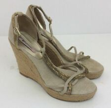 DUNE Hessian Canvas Gold Trim Womens Wedges Shoes Cream Brown Size 6 UK
