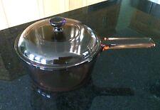 Corning Pyrex Cookware Vision 1.5 L Saucepan USA Amber Quart 1.6 Lid Pan Cooking