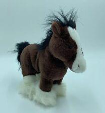"Ganz Webkinz Clydesdale Horse Plush Brown Black White HM139 No Code 10"" I"