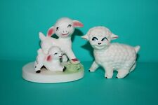 Happy Sheep Lamb Figurines Lot of 2 Hand Painted Ceramic Art Pottery Vintage
