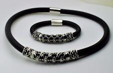 Simply Unique design  Silver Shape Round Rubber fashion bracelet & necklace set