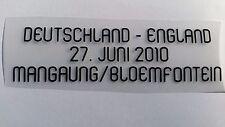 Match Details Patch Trikot Deutschland VS England WM 2010 Aufdruck Flock Schwar