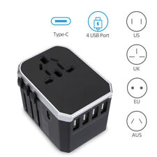 Fast Charging Universal Travel Power Adapter Wall Charger with 4 USB + Type C
