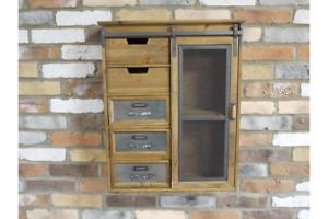 Industrial Wall Storage Unit - Drawers Sliding Door Shelves