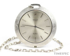 Rolex Ceillini 18k White Gold Pocket Watch With 18K Chain Box & Papers 3608