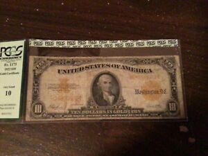 1922 $10 TEN DOLLAR GOLD CERTIFICATE CURRENCY NOTE >>RARE<< pcgs